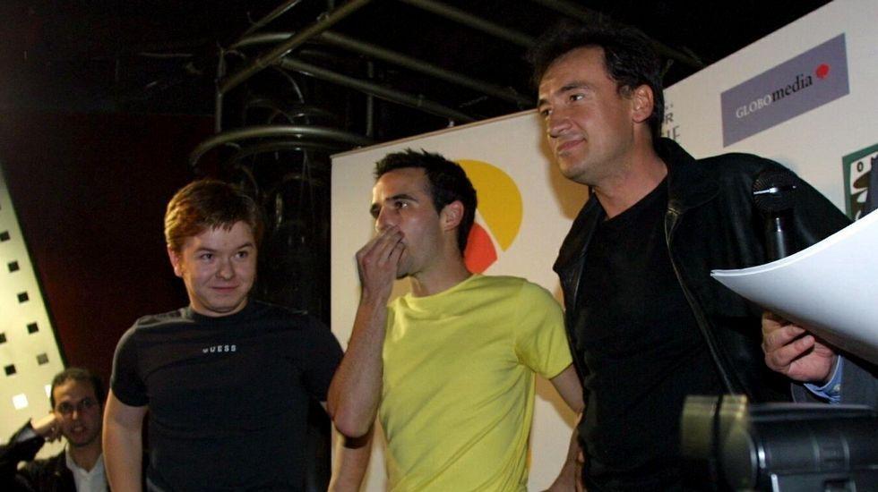 Tres de los actores de la serie, en un encuentro con fans en A Coruña en el 2001.