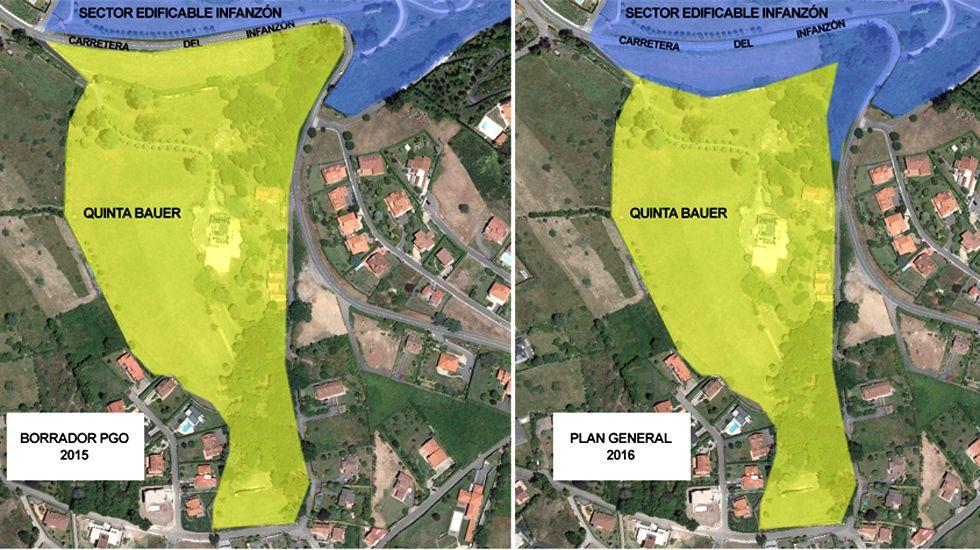 Los límites de las parcelas de la Quinta Bauer y el Infanzón, antes y después de la recalificación