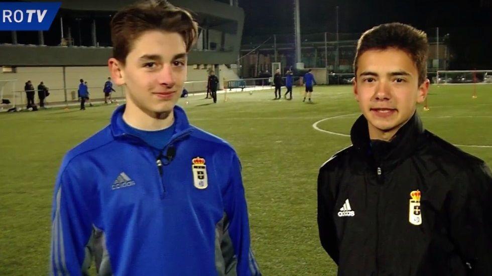 Los jugadores Rober y Lucas (Real Oviedo Cadete B)