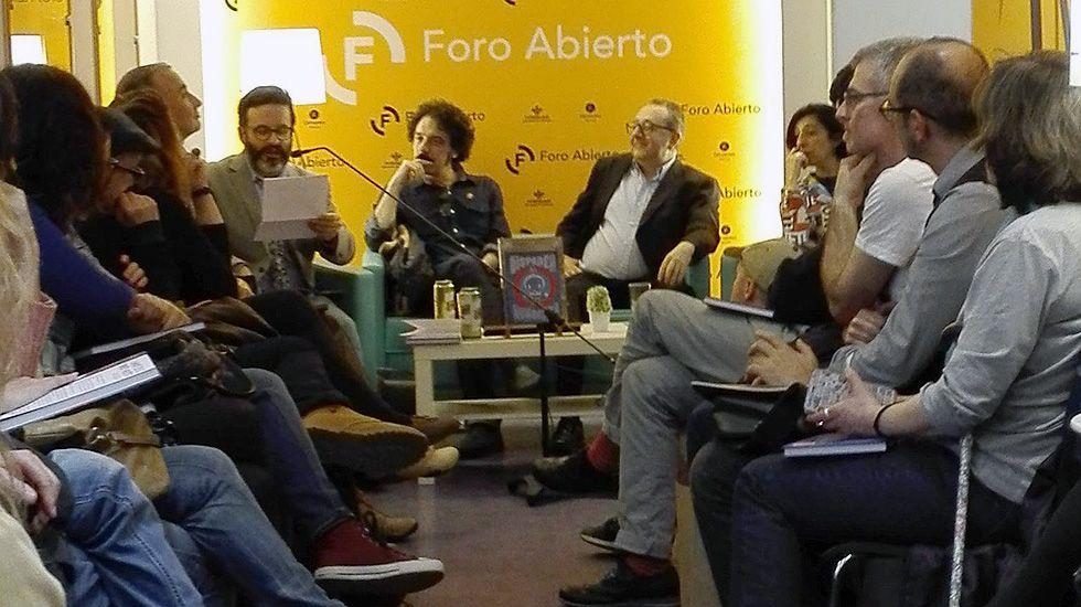 Edu Galá, Darío Adanti y Javier Cuervo en la presentación del libro «Disparen al humorista»