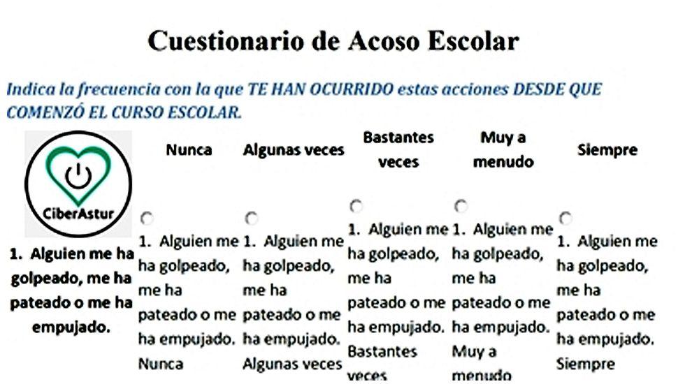 Ficha con una de las preguntas de la encuesta CiberAstur