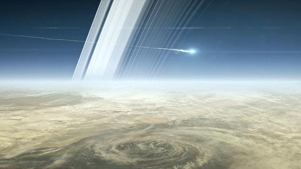 Una estrella fugaz en el cielo de Saturno