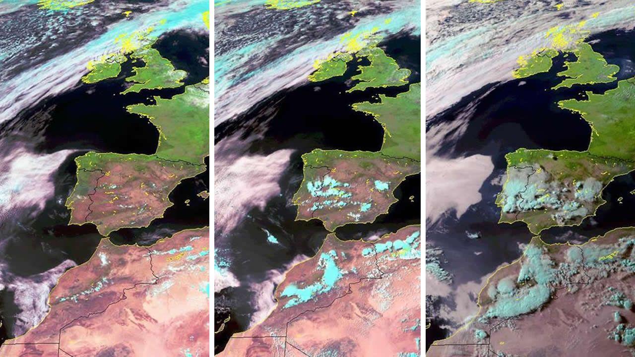 Imagen de la tormenta a las 12, a las 15 y a las 18 horas