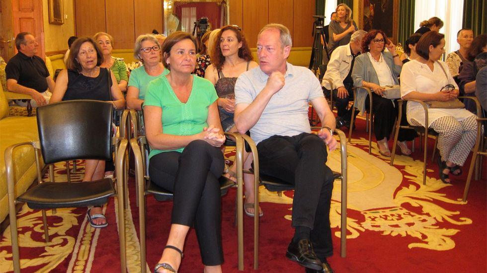 Carmen Moriyón y Aurelio Martín, en la lectura del manifiesto contra la violencia machista
