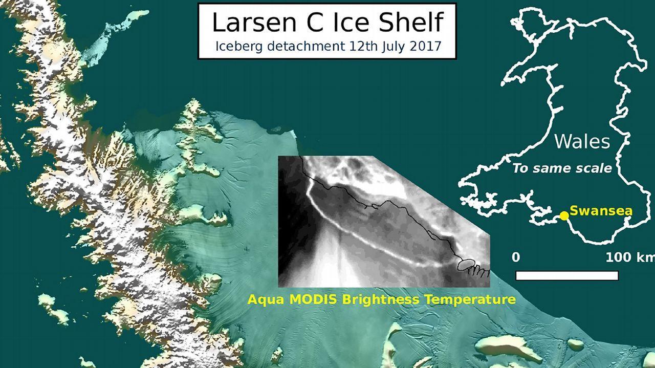 """Resultado de imagen para Antartida placa de hielo Larsen C y la evolución de """"este enorme iceberg""""."""