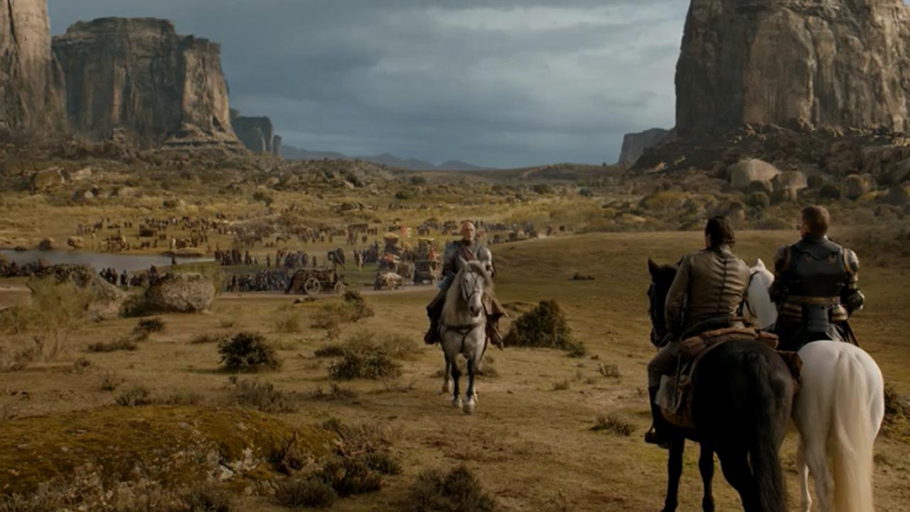 Randyll Tarly, Jaime Lannister y Bronn en el episodio 7x04 de Juego de Tronos