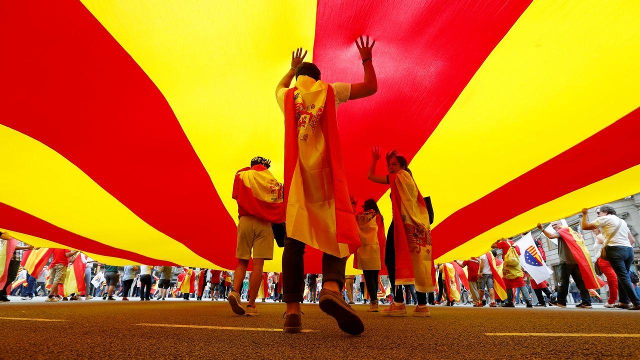 Manifestación en Barcelona para conmemorar el 12-O