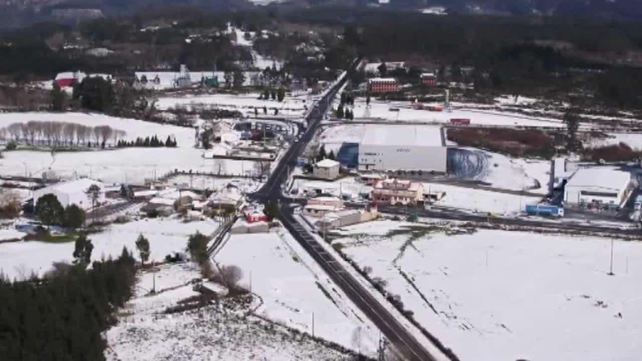 Así se vio la nevada en Montesalgueiro desde un dron