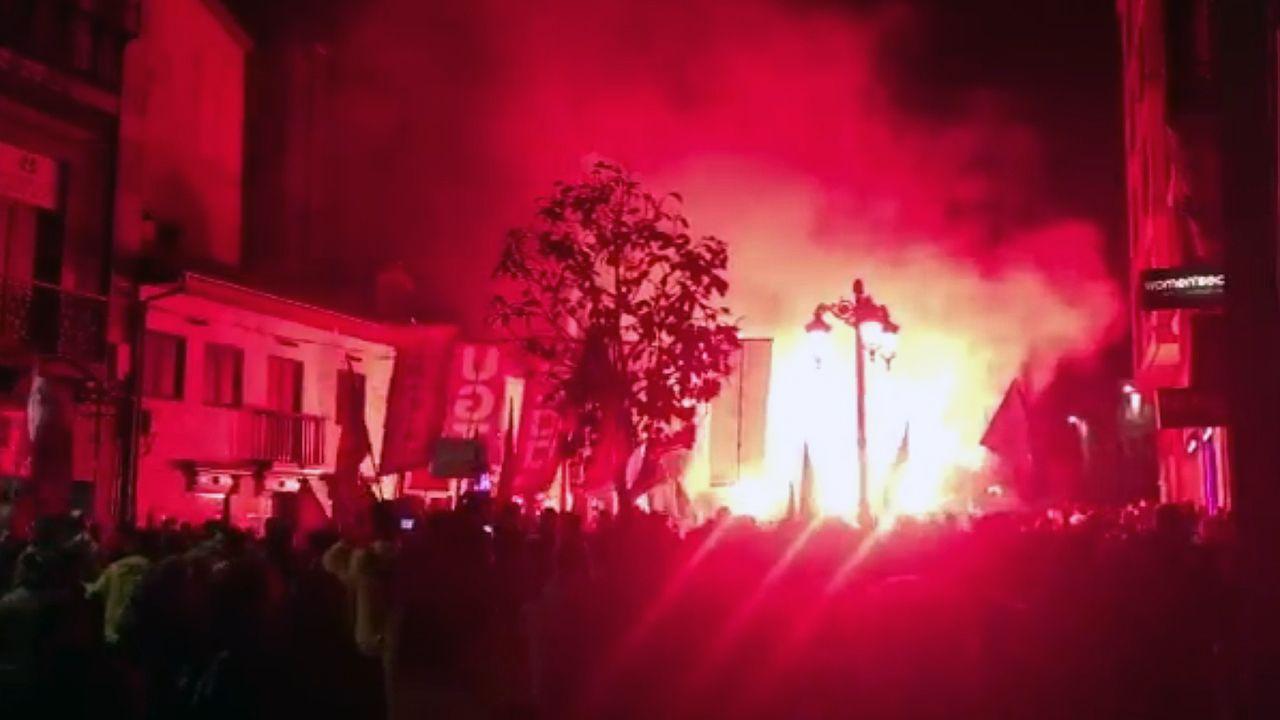 Este es al ambiente de la manifestación de Alcoa