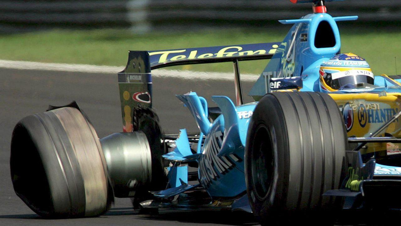 .Alonso perdiendo una rueda en Monza