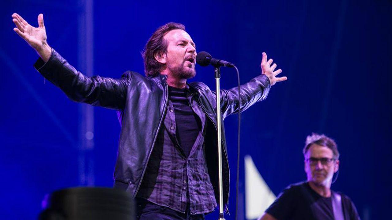 Eddie Vedder, vocalista del grupo Pearl Jam, en concierto en el festival I-Days 2018, en Italia