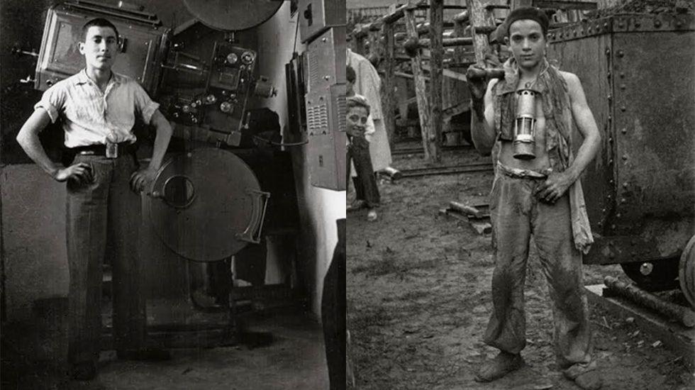 Operador de cabina (1947) y guaje minero (1949) en Sotrondio.