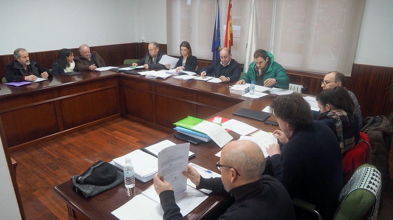 Rivera y Vázquez critican a Sánchez por someterse al «griterío de las minorías». El presidente del Principado, Javier Fernández (d), y la presidenta del PP de Asturias, Mercedes Fernández (i), al inicio de la reunión para la negociación del proyecto de Presupuestos Generales de Asturias para 2019