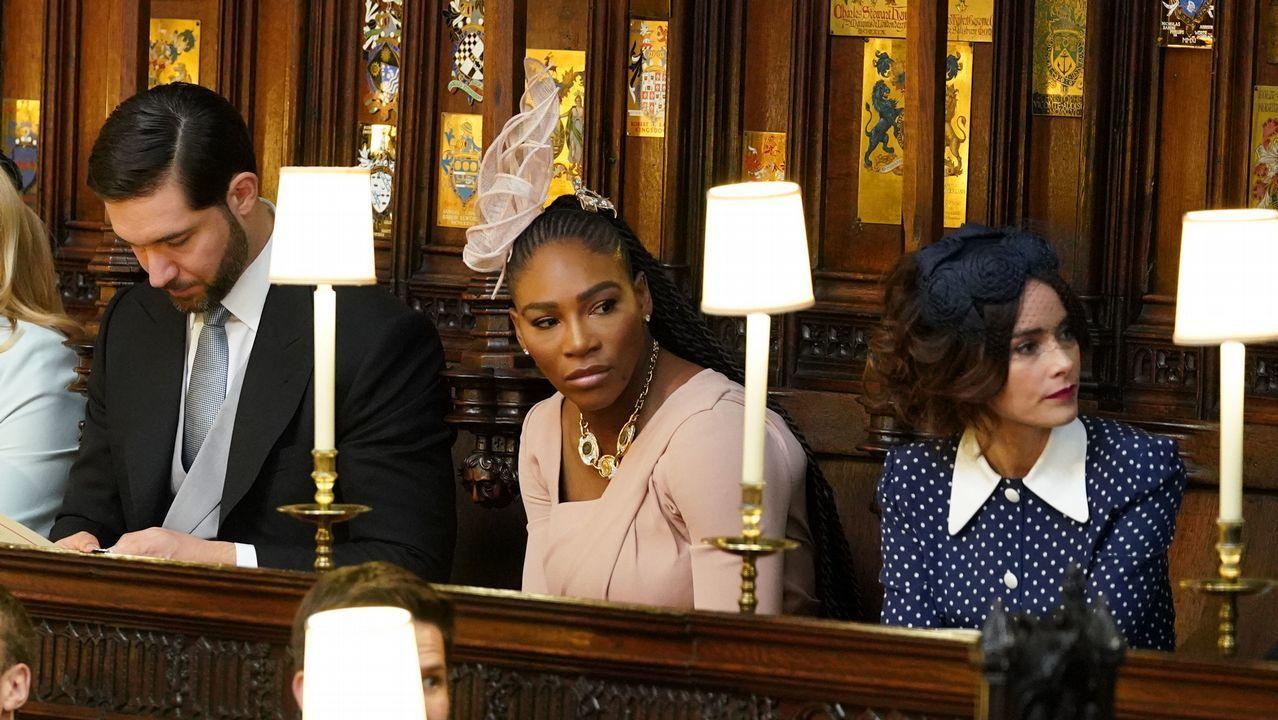 La tenista Serena Williams junto a su marido, Alexis ohanian y una amiga de Meghan, la actriz Abiagil Spencer