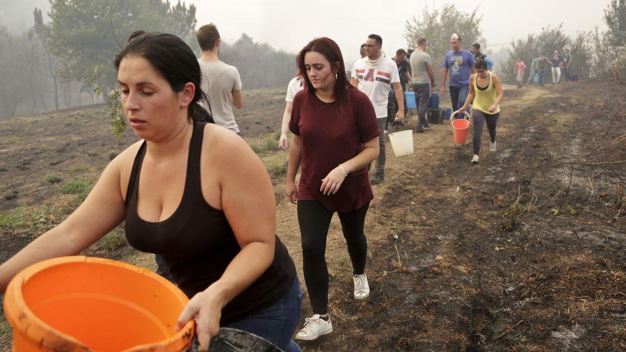 Vecinos de Vigo ayudan a apagar el incendio forestal que ha llegado hasta la calle Florida en el barrio de Navia