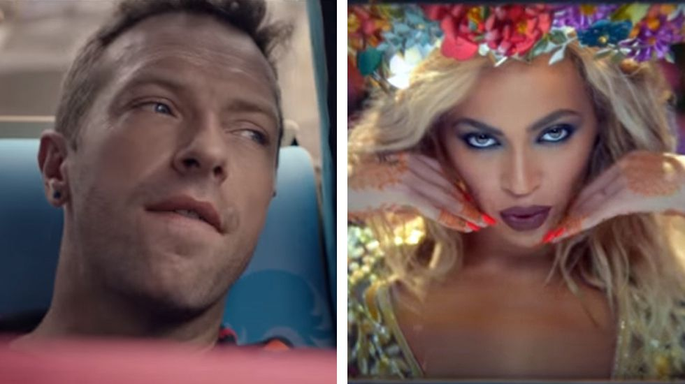 El Himno para el fin de semana de Coldplay y Beyoncé, «Hymn for the Weekend».Un niño juega en la Fan Zone de San Francisco