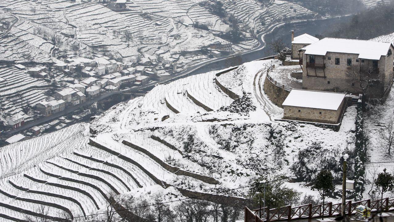 Paisajes nevados de la Ribeira Sacra.
