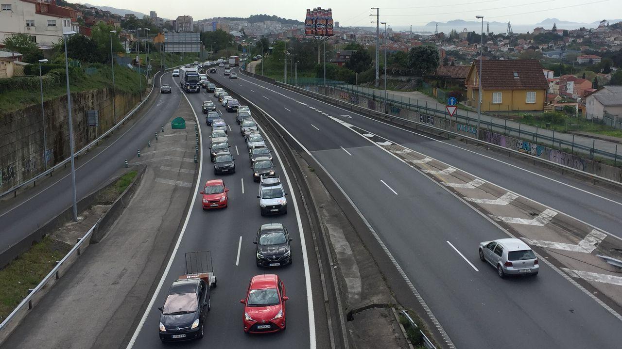 Retenciones en la autopista AP9 por las obras de Rande Retenciones en la autopista AP9 por las obras de Rande.
