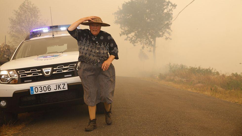 Incendio forestal en San Juan de Fecha.Incendio forestal en Coaxe