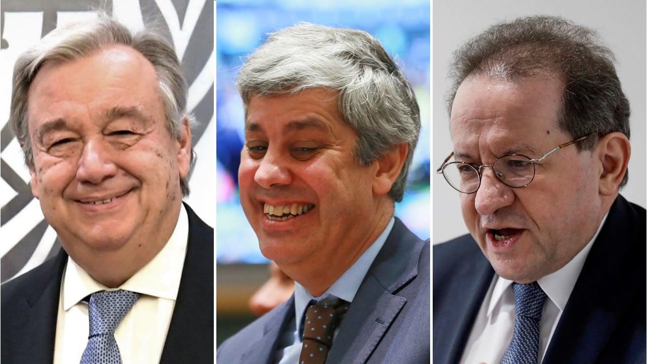 Protestas contra la austeridad del gobierno tunecino.De izquierda a derecha, Antonio Guterres, Mário Centeno y Vítor Constâncio