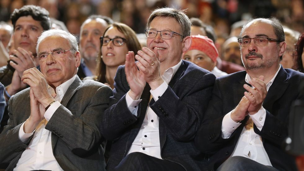 Alfonso Guerra, y los presidentes autonómicos de Valencia, Ximo Puig, y Aragón, Javier Lambán