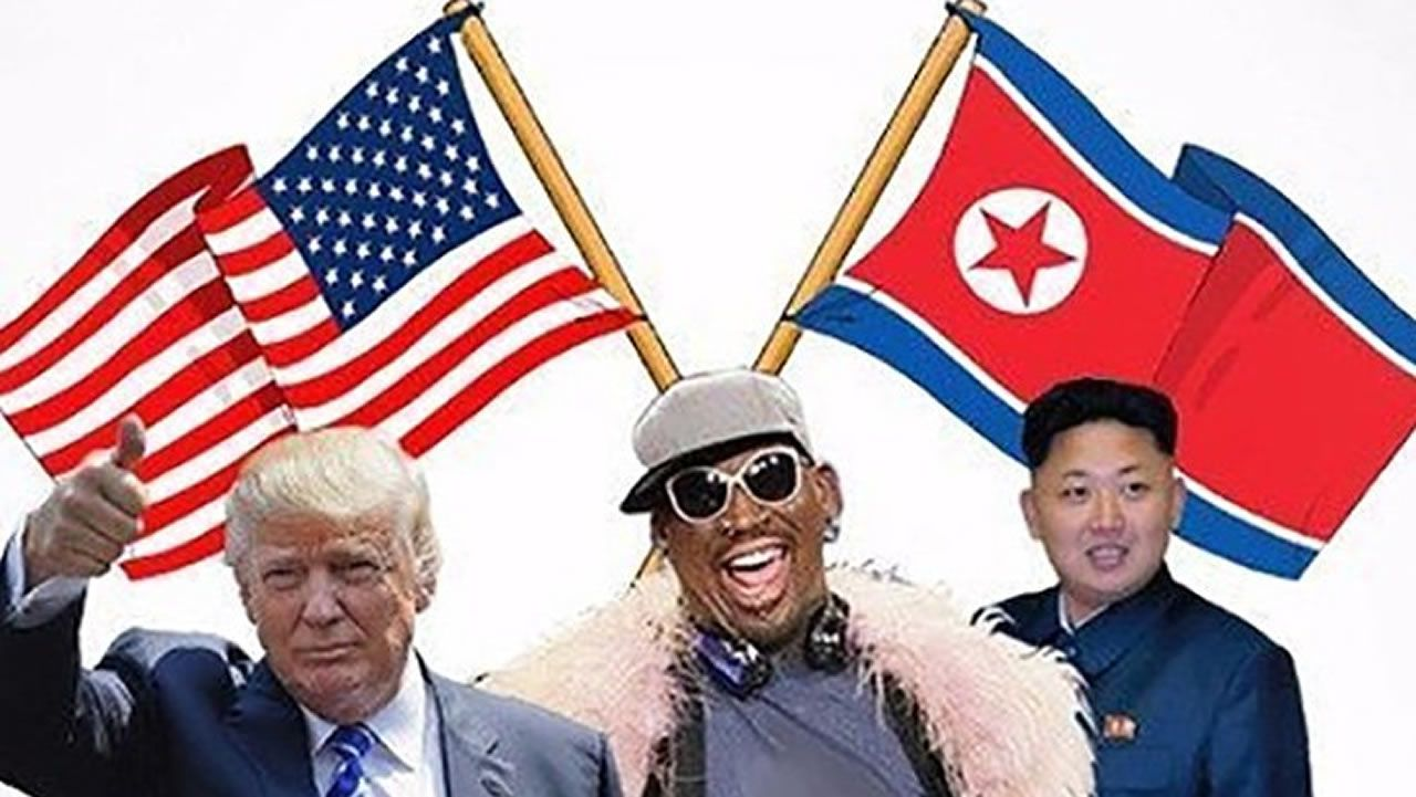 .Howard X, imitador del líder norcoreano Kim Jong Un, y Dennis Alan, caracterizado como el presidente de EE. UU