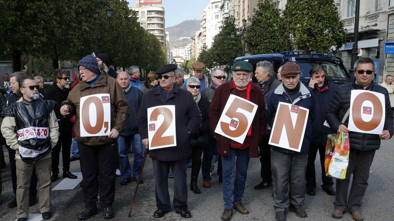 Miles de personas han participado hoy en Oviedo en la manifestación convocada por las Asociaciones de Pensionistas de Asturias y de Gijón para protestar por la subida de las pensiones en tan sólo un 0,25 por ciento y para pedir que se blinde el sistema público de pensiones