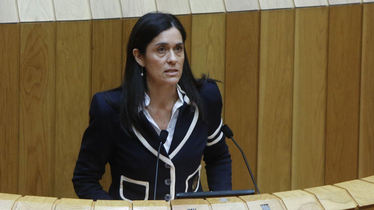 Manuel Rouco serácandidato de PP para las municipales en Burela.El presidente Núñez Feijoo durante una intervención en Santiago