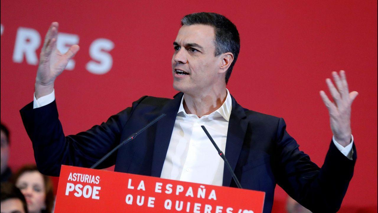Sánchez pide un «esfuerzo extraordinario de movilización» para el 28A.El ministro José Luis Ábalos se dirige a los manifestantes de la Plataforma en defensa del Plan de Vías en la Plaza Mayor de Gijón