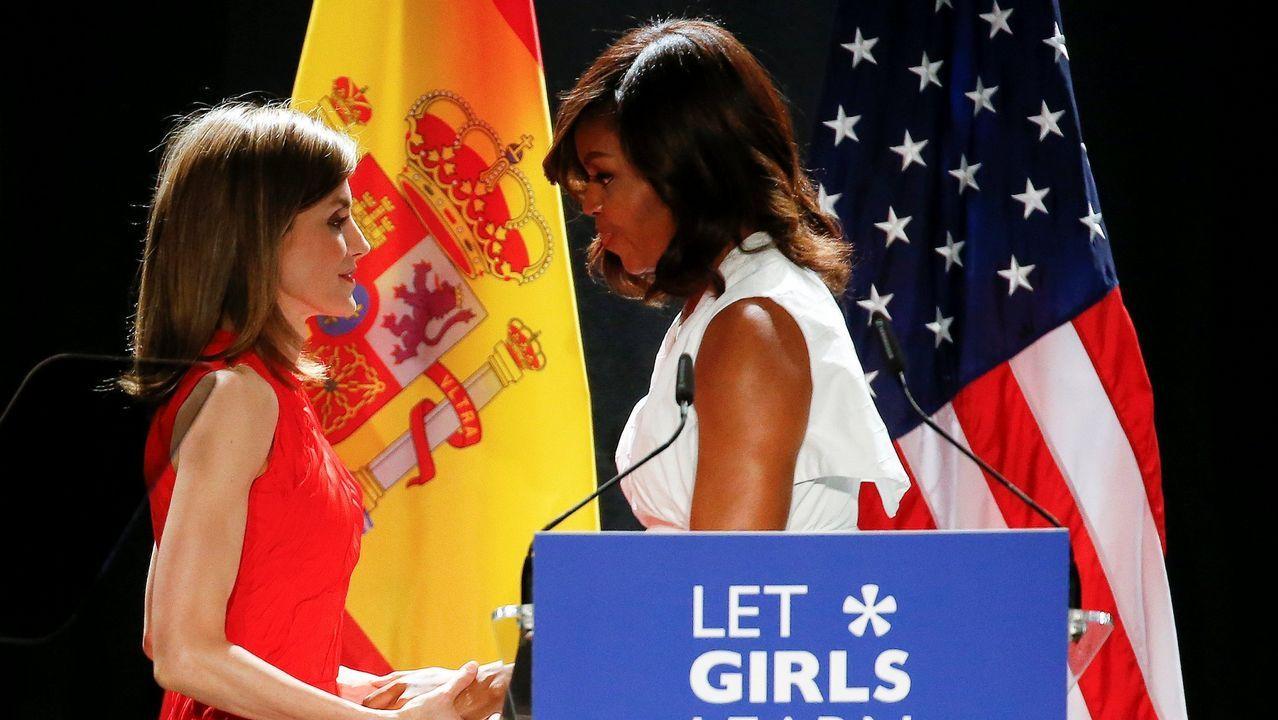 Junto a Michelle Obama, en su visita a España en junio del 2016