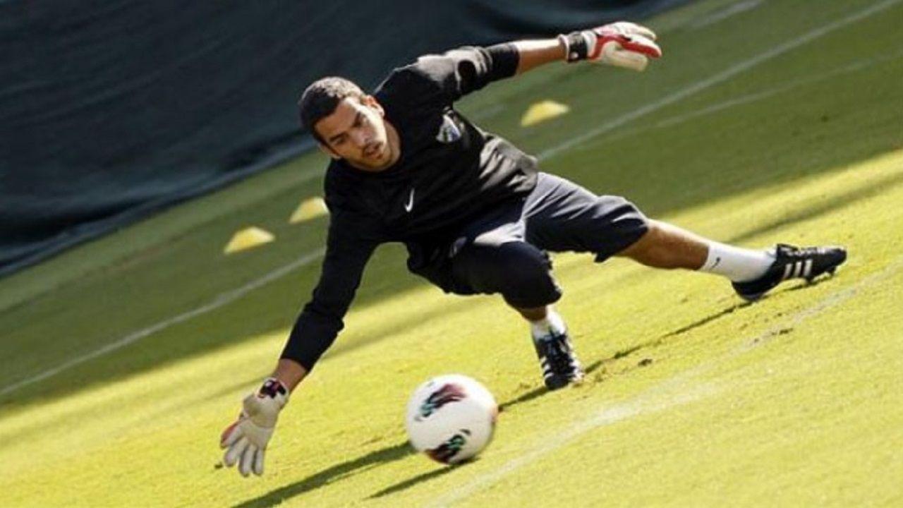 Gol Rocha Real Oviedo Sevilla Atletico.Pol Freixanet en un entrenamiento con el Málaga
