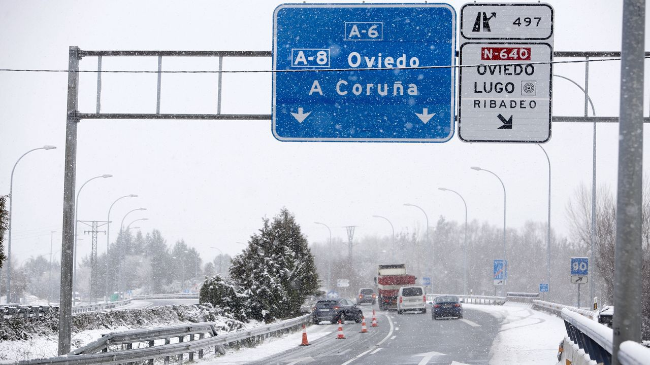 Nieve en la A-6