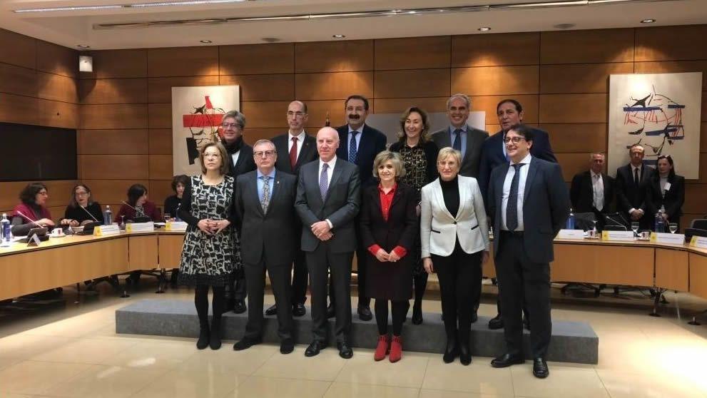 Almuíña -atrás, segundo por la izquierda, este miércoles en Madrid, en una reunión que presidió la ministra de Sanidad