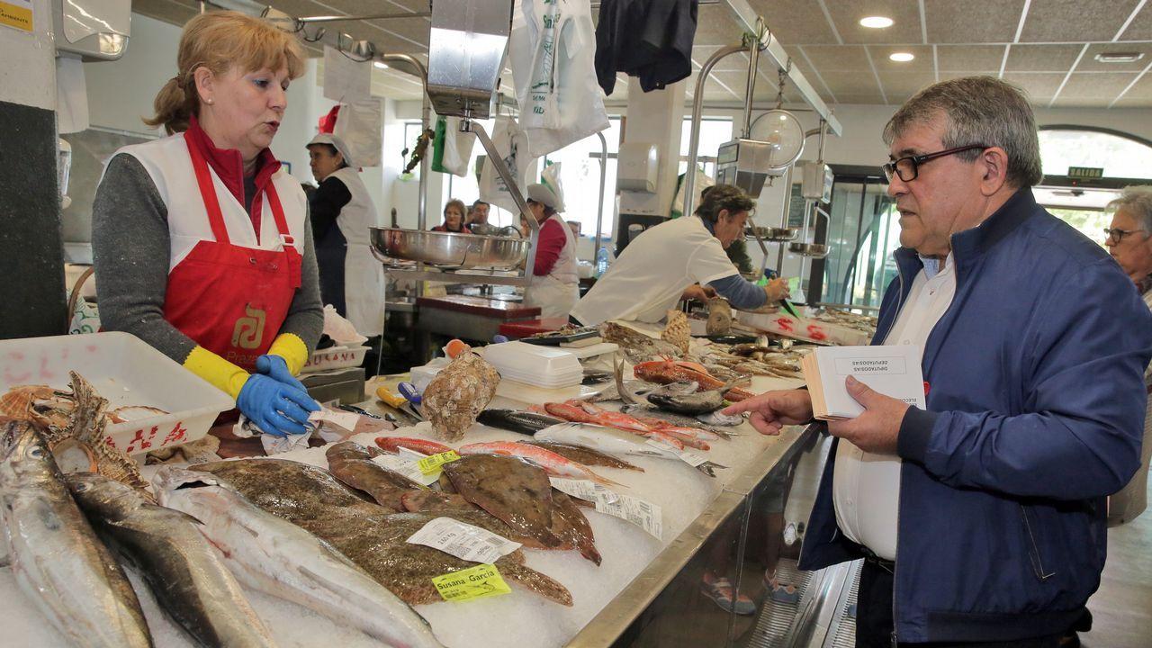 El PSOE hace campaña en el mercado de Vilagarcía