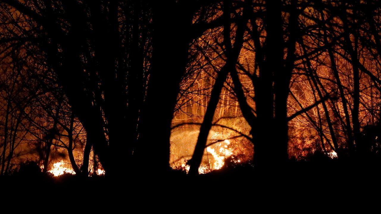 La crudeza del fuego asturiano en imágenes.Los bomberos intentan sofocar el incendio que se ha producido hoy en los alrededores de Labares