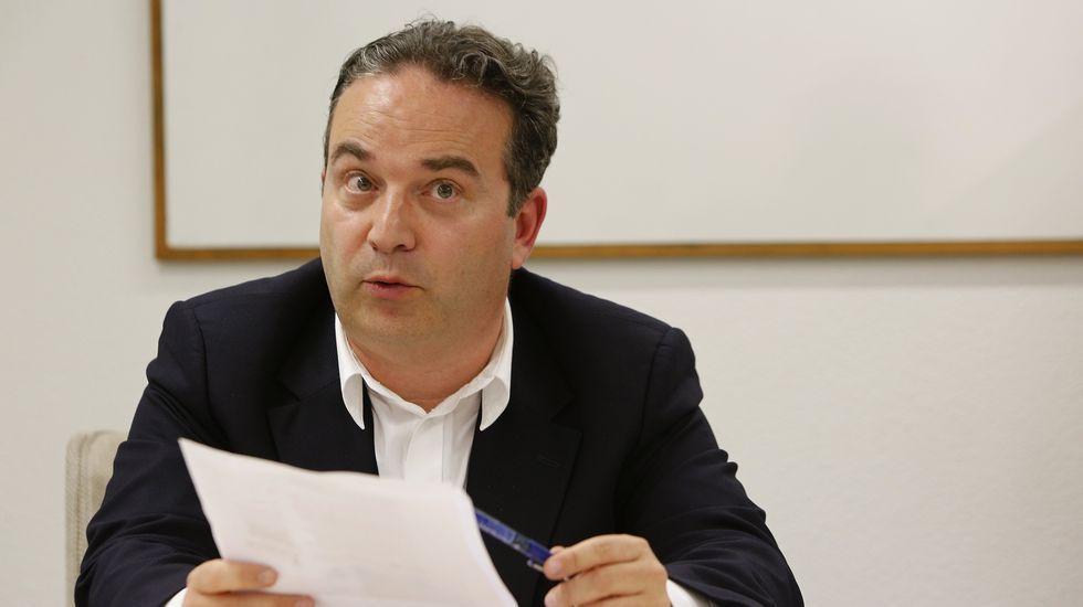 Pedro Landeira en la redacción de La Voz en A Coruña.