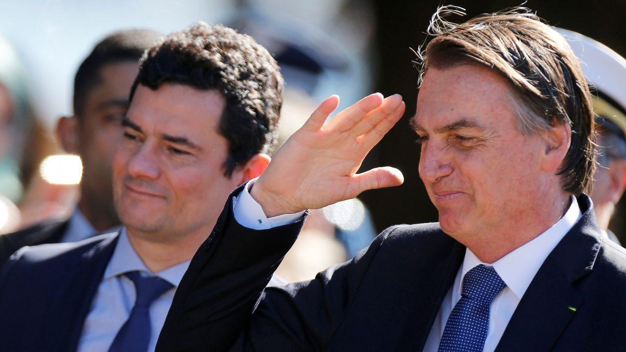 Bolsonaro y el ministro Moro asistieron este martes a la ceremonia del 154 aniversario de la batalla naval de Riachuelo