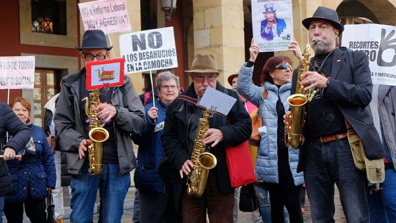 En la concentración de pensionistas de diciembre en Gijón