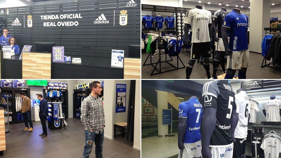 Christian Fernández acudió a la inauguración de la nueva Tienda Oficial del Real Oviedo