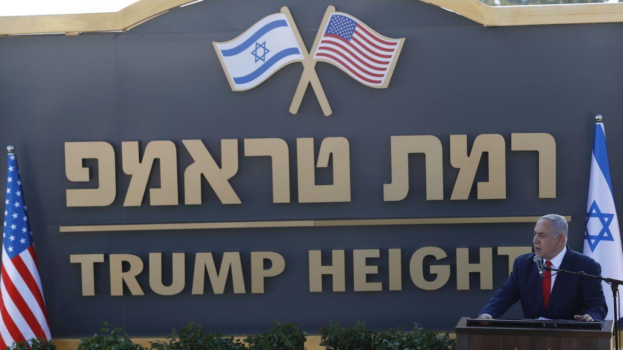 Netanyahu  este domingo  en la inauguración de Ramat Trump, Altos de Trump, una nueva colonia judía en el Golán