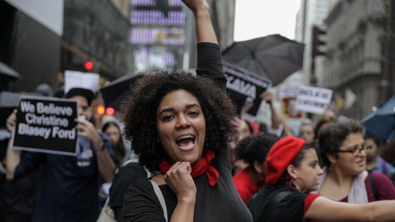 Manifestantes contra el juez Brett Kavanaugh en Nueva York