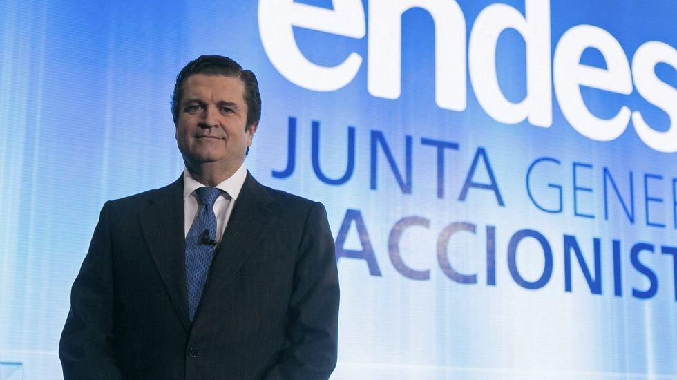 .l presidente de Endesa, Borja Prado, durante la junta general de accionistas que la eléctrica celebra hoy en su sede de Madrid