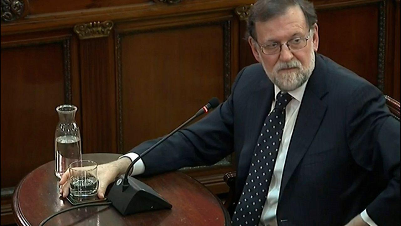 El expresidente Mariano Rajoy, durante su declaración como testigo en el juicio por el desafío independentista