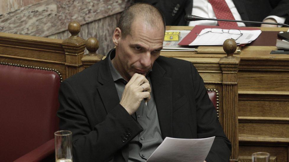 .El ministro griego de Finanzas, Yanis Varufakis, en el Parlamento de Atenas.