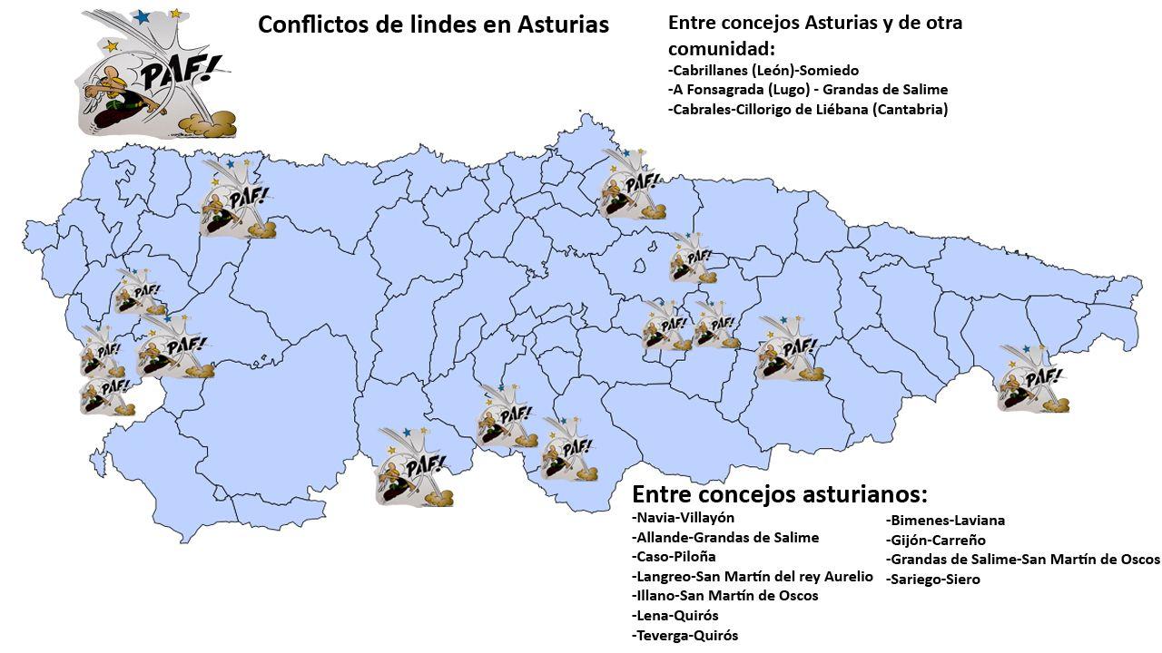 La Junta General acoge la capilla ardiente de Areces.Conflictos de lindes en concejos asturianos desde el año 2005. Fuente: Instituto Geográfico Nacional