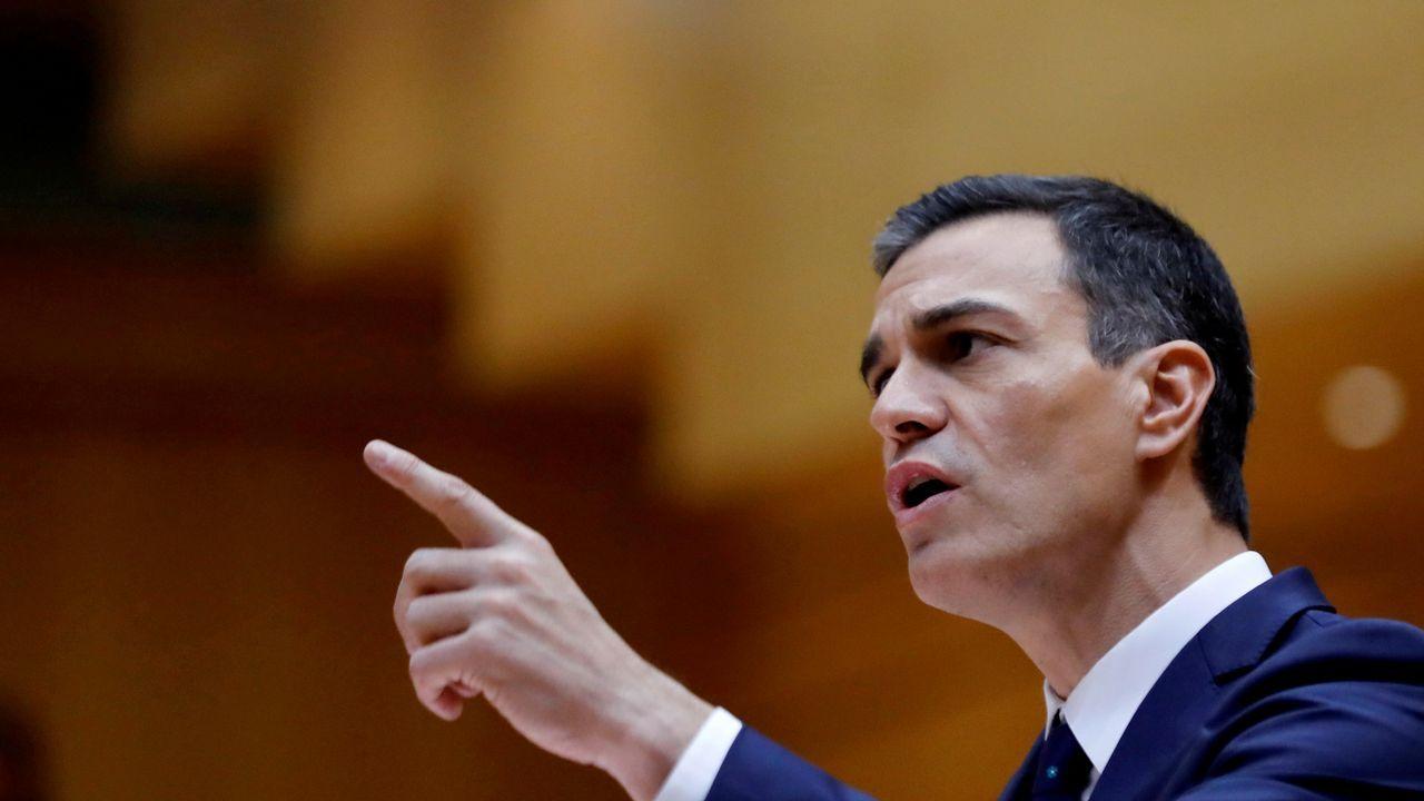 Sánchez en su intervención hoy en la sesión de control al Gobierno en el Senado