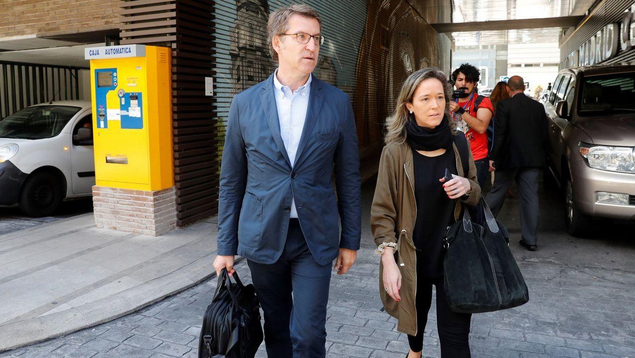 Feijoo a su llegada a la reunión de la Junta Directiva Nacional del PP en la que se dio el pistoletazo de salida a la carrera sucesoria de Rajoy.
