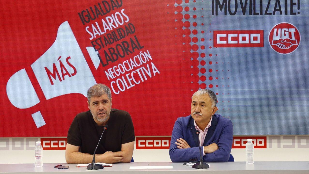 Sindicatos y CEOE.Pepe Álvarez y Unai Sordo, en una imagen de archivo