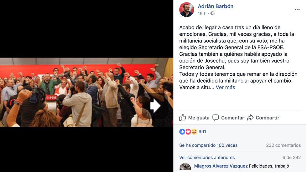 Felicitaciones en el perfil de Adrián Barbón.Felicitaciones en el perfil de Adrián Barbón