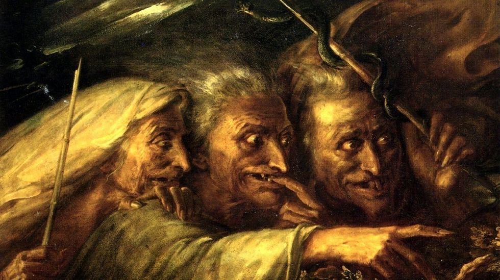 .«Las tres brujas de Macbeth» (1827), óleo de Alexandre-Marie Colin. Colección particular de Mr. and Mrs. Sandor Korein